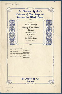 Swing low, sweet chariot chorus for mixed voices : Negro spiritual. [vocal score]