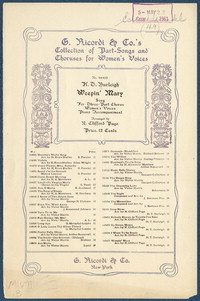 Weepin' Mary chorus women's voices : Negro spiritual. [vocal score]