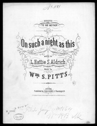 On such a night as this [sheet music]