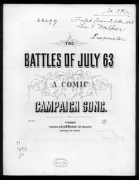 The Battles of July '63 [sheet music]