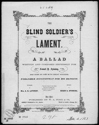 The Blind soldier's lament [sheet music]