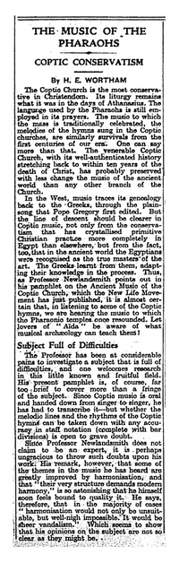 The Music of the Pharaohs: Coptic Conservatism [clipping]