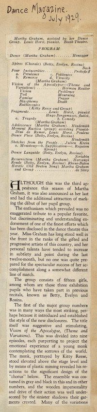 Review of Martha Graham Recital of April 14, 1929 from Dance Magazine