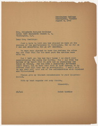 [Letter from Erick Hawkins to Elizabeth Sprague Coolidge, August 4, 1942] [correspondence]