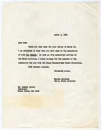 [Letter from Samuel Barber to Harold Spivacke, April 3, 1961] [correspondence]