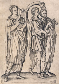 Detail from Tŭbicines, Liticines, Lÿricines, Cornicines, qŭi praecedebant Victimam et Hecatoniben (Trumpeteers, cornetists, lyre players, horn players, who precede the victims and sacrifice...) by an unknown artist, 17th century?