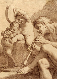 Detail from Le Concert d'une Faune (The Faun's Concert) by Francesco Bartolozzi, after a drawing by Carlo Cignani, ca. 1765-1766