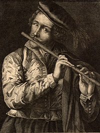 Detail from The Flute Player by Lucas Vorsterman, the elder, after a painting by Otto Vorsterman, painter, 17th century