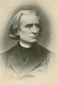 [Franz Liszt, ca. 1850; reproduced in James Huneker's Franz Liszt (New York: Charles Scribner's Sons, 1911; page 36).]