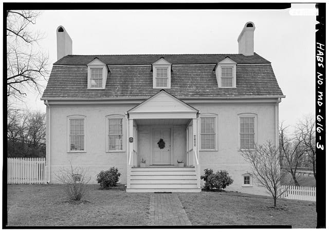 3. NORTH (FRONT) ELEVATION, WITHOUT SCALE HABS MD,17-BLAD,3-3