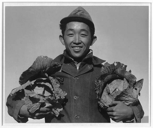 Richard Kobayashi, farmer with cabbages, Manzanar internment camp, photo by Ansel Adams image: loc.gov
