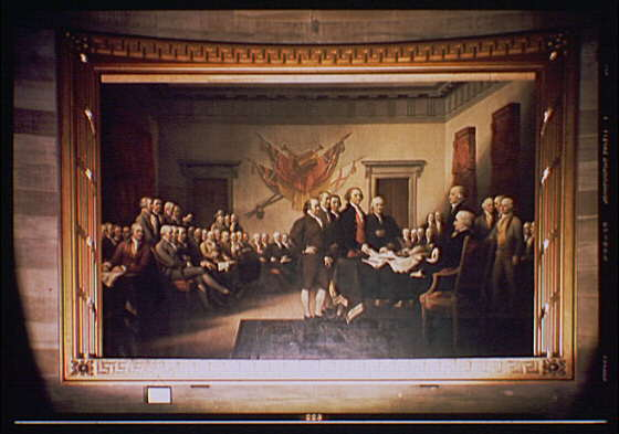 "John Trumbull's painting the ""Signing of the Declaration of Independence,"""