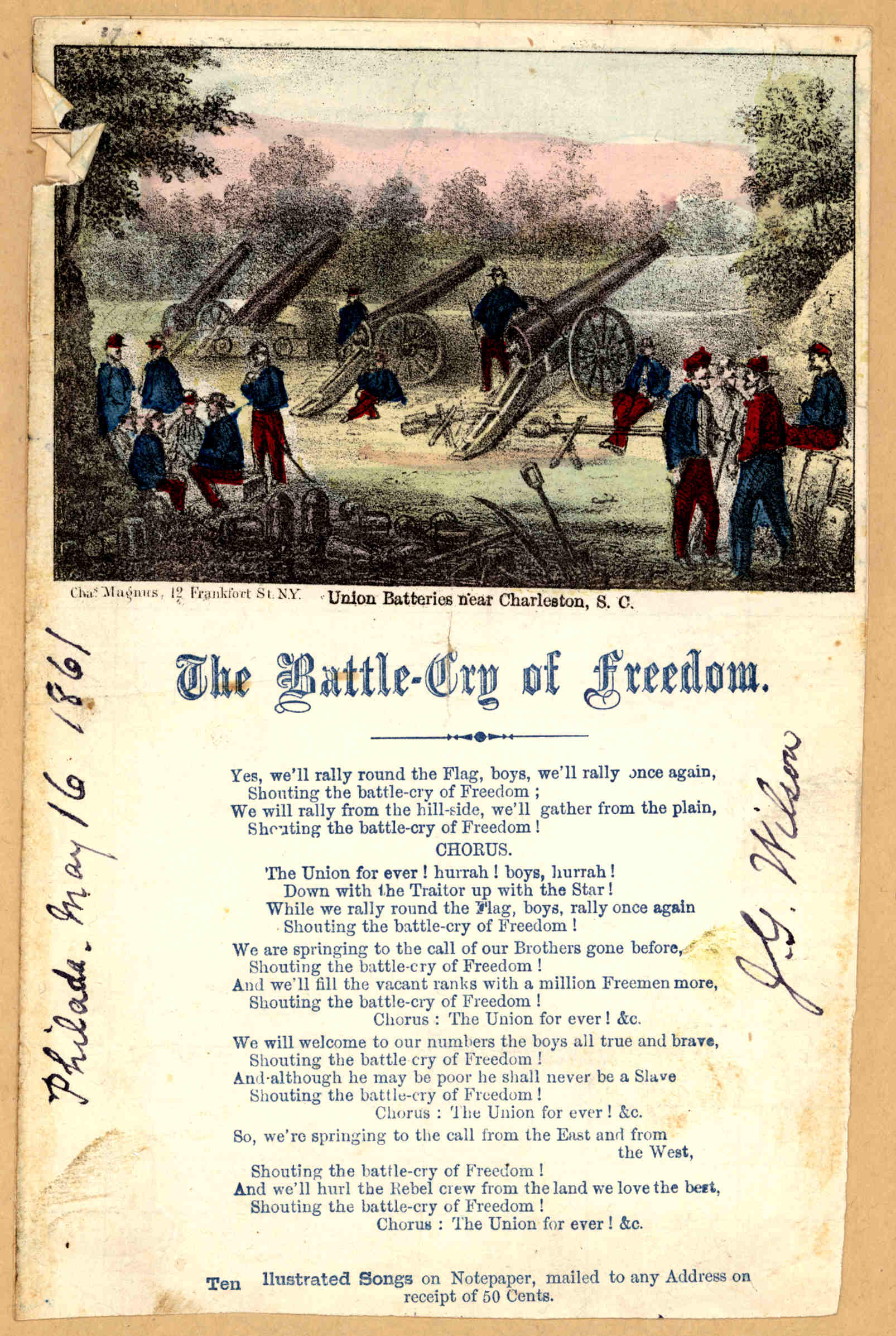 battle cry of freedom Yes we'll rally round the flag, boys, we'll rally once again, shouting the battle cry of freedom, we will rally from the hillside, we'll gather from the plain.
