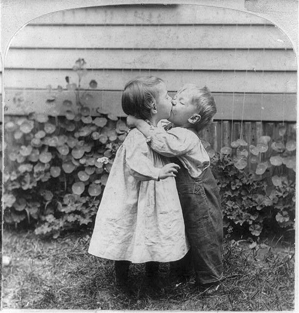 Two children kissing from the Library of Congress American Memory Collection