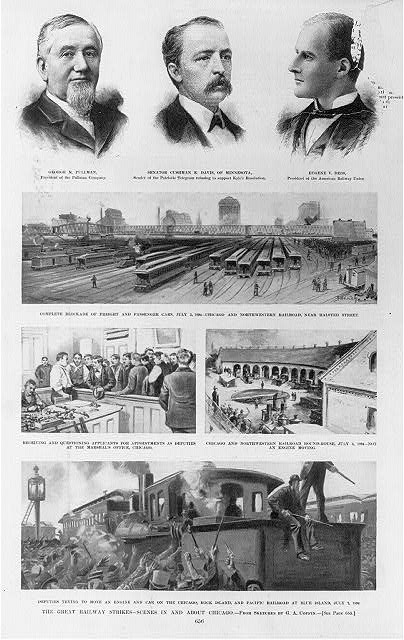 The great railway strikes - scenes in and about Chicago / from sketches by G.A. Coffin.  Three bust portraits showing George Pullman, Cushman K. Davis, and Eugene Debs; and four illustrations showing blockade of railroad cars, applicants for appointments as deputies at the marshals office, roundhouse, and deputies trying to move an engine and car at Blue Island.  Illus. in: Harpers weekly, 1894.