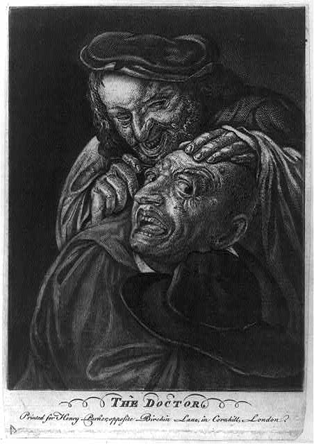 Doctor performing surgery on head of patient.  Library of Congress.