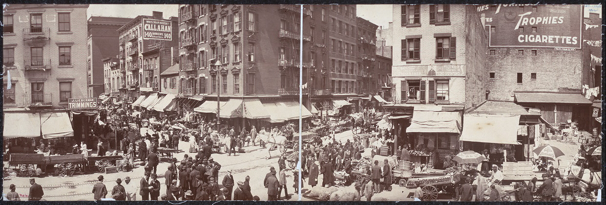 Picture 5:  Hester St. In New York's Lower East Side, 1902 (tenements above shops)