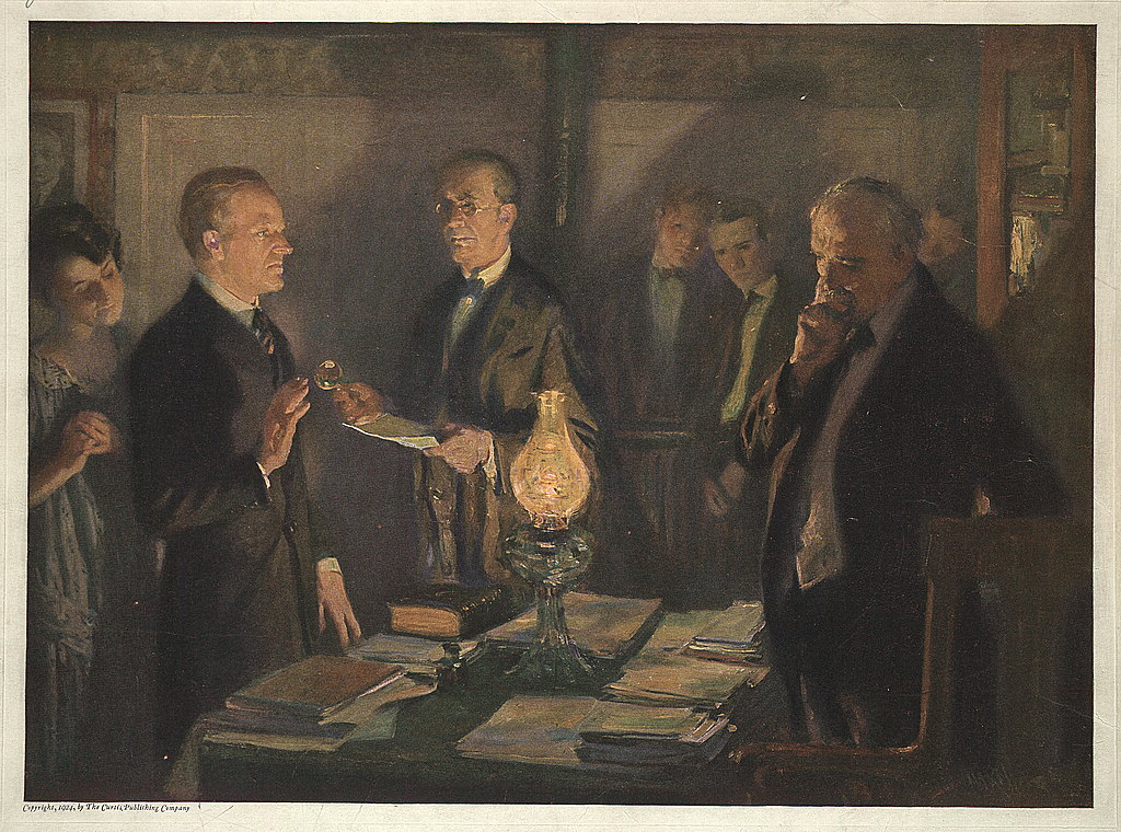 Calvin Coolidge taking the oath of office August 3, 1923, upon learning of the death of President Warren G. Harding. Curtis Publishing Company image (artist?), 1924; from the American Memory Collection at the Library of Congress