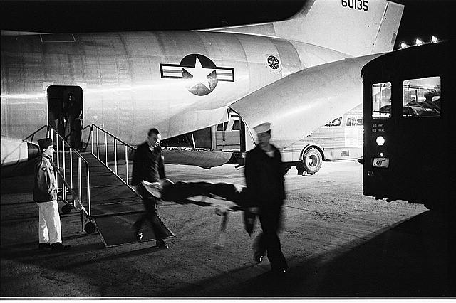 Wounded servicemen arriving from Vietnam