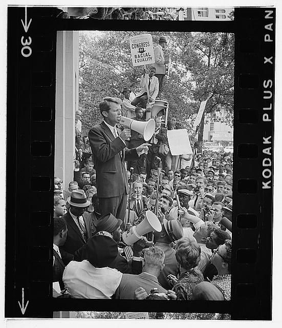 Justice Dept. Bobby Kennedy speaking to crowd
