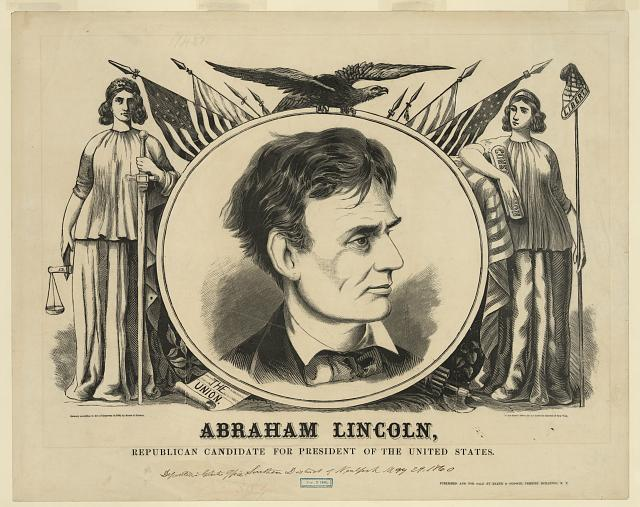 Poster for campaign of Abraham Lincoln for President, 1860 - Baker &amp; Godwin, publisher; Library of Congress
