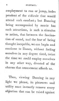 Image 34 of An   analysis of country dancing wherein are displayed all the figures ever used in country dances, in a way so easy and familiar, that persons of the meanest capacity may in a short time acquire (without the aid of a master) a complete knowledge of that rational and polite amusement. To which are added, instructions for dancing some entire new reels; together with the rules, regulations, and complete etiquette of the ball room