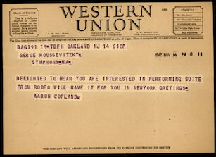 Letter from Aaron Copland to Serge Koussevitzky, November 14, 1942.