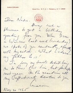 Letter from Aaron Copland to Nadia Boulanger, November 20, 1965.