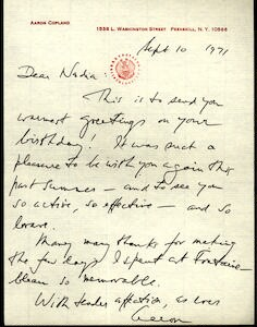 Letter from Aaron Copland to Nadia Boulanger, September 10, 1971.