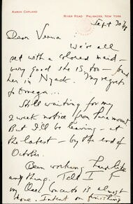 Letter from Aaron Copland to Verna Fine, September 30, 1948.