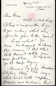 Letter from Aaron Copland to Verna Fine, 1950.