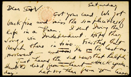 Letter from Aaron Copland to Irving and Verna Fine, September 11, 1950.