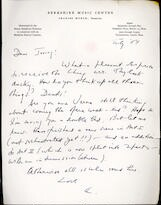 Letter from Aaron Copland to Irving Fine, July 1954.