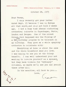 Letter from Aaron Copland to Verna Fine Gordon, October 28, 1975.