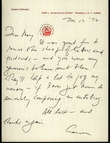Letter from Aaron Copland to Mary Lescaze, December 12, 1972.