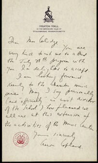Letter from Aaron Copland to Elizabeth Sprague Coolidge, undated.