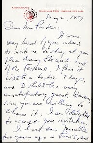 Letter from Aaron Copland to Mrs. Parker, May 2, 1957.