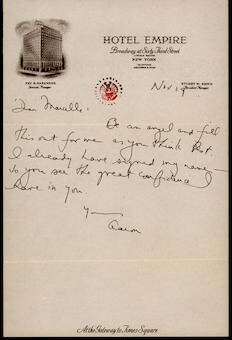 Letter from Aaron Copland to Marcelle de Manziarly, undated.