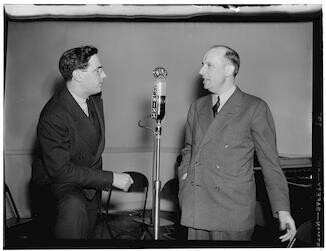 [Portrait of Ted Weems and William P. Gottlieb, WINX, Washington, D.C., ca. 1940]