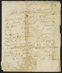 Ludwig van Beethoven autograph letter to Count Franz von Brunswick, 1814 Feb. 13