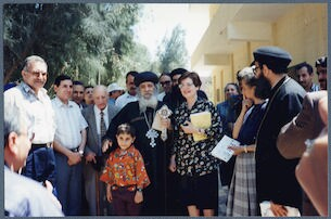 [ Ragheb Moftah, His Holiness Pope Shenouda III, Laurence Moftah at the Monastery of Anba Bishoy in Wadi al-Natrun], April 29, 1995
