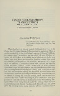 Ernest Newlandsmith's Transcriptions of Coptic Music: A Description and Critique