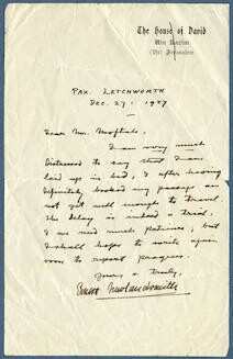 Letter from Ernest Newlandsmith to Ragheb Moftah, December 27, 1927