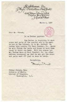 [ Letter from Samuel Barber's secretary to Oliver Strunk, March 2, 1937]