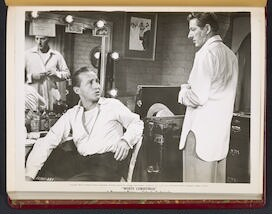 "[ Bing Crosby and Danny Kaye in dressing room - scene from ""White Christmas""]"
