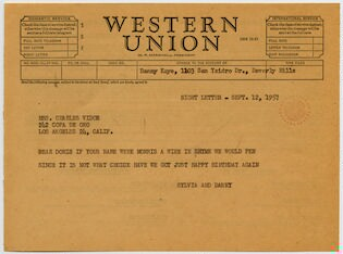 [ Telegram from Sylvia Fine and Danny Kaye to Mrs. Charles Vidor, September 12, 1957]