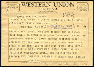 "[ Western Union Telegram announcing Danny Kaye's ""stunning"" debut at the Empire Theatre in Sydney, Australia, June 20, 1959]"