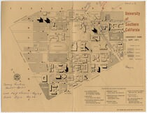 [ University of Southern California campus map with handwritten indications for where Sylvia Fine's classes were taught]