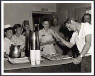 [ Danny Kaye entertains the nursing staff at  the Casualty Staging Flight unit, Tachikawa Air Base, Japan]