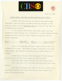 "[ Press kit for ""The Danny Kaye Show"" April 6, 1966]"